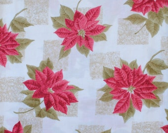 Christmas Fabric Victorian Poinsettia on Off-White Background VIP Print Cranston Print Works Co.100% Cotton 1 Yard.
