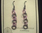 Trinity: Reclaimed Bicycle Chain Piece Roller Earrings- Sorority Gift