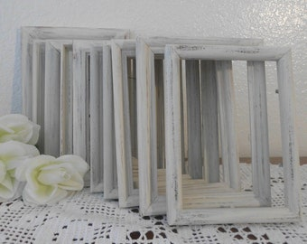 White Wedding Frame Set Shabby Chic 5 x 7 Picture Photo Table Number Distressed Decoration Paris French Cottage Rustic Home Decor