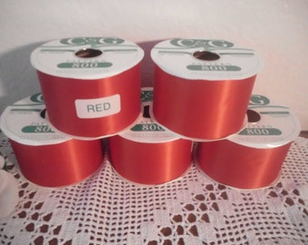 Christmas Red Ribbon Wide Wedding 50 Yard Roll Double Face Acetate Satin 200 Count Water Repellant DIY Christmas in July CIJ Bright Ruby