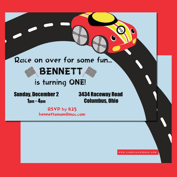 RACE CAR Birthday INVITATION, little red car, red race car, Digital or Professional Printed