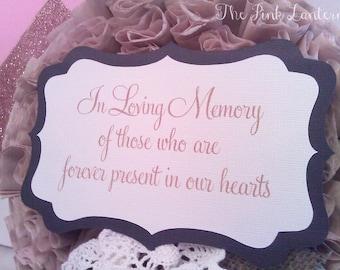In Loving Memory Sign - 5x7 Custom Memorial Wedding Sign