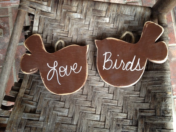 Rustic Brown and White Love Birds Wedding Signs Brown Wedding Decor Hangers