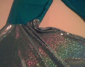 Hoop dance pants turquoise holographic silver mega flare