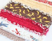 Sock Monkey Lovey, Rag Quilt, Boy's Blankey in a patchwork, red, brown, cream and yellow, baby shower gift