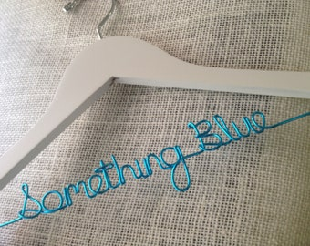 Personalized Wedding Dress Hanger - Something Blue - White Hanger with Turquoise Wire, Bride Name Hanger