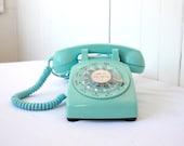 Vintage Phone, Vintage Rotary Phone, Turquoise Phone, Rotary Telephone, Aqua Rotary Phone, Vintage Western Electric Phone - SummerHolidayVintage