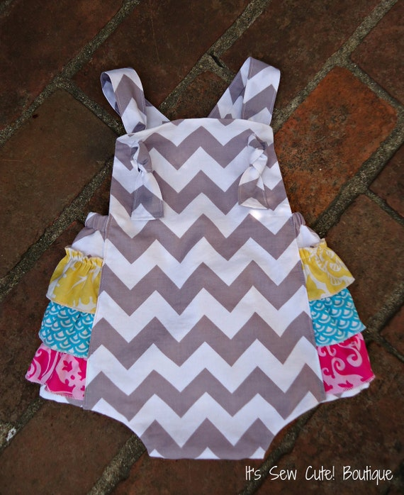The Keeley -  Retro Knot Ruffled Sunsuit Romper for girls gray chevron Photo Prop