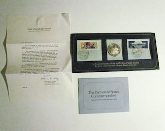 Sterling Silver Proof Coin Stamps Apollo Soyuz Mission  - 1975 Partners in Space Commemorative