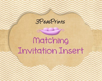 Custom insert to match any invitation for bridal or baby shower and birthday party invites