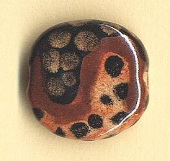 9  African Kazuri Beads Pita Pat Design 24mm  - Brown, Black Tan, Black Dots