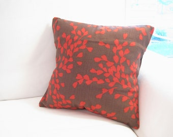 accent pillows, 14 in decorative pillow, brown red pillow, brown pillows, red pillow, 14x14 pillow, pillow cover, romo pillow, floral pillow