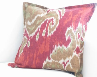 pillow covers, ikat pillow cover, 14 inch pillows, red pillow covers, red ikat pillow, 14 inch ikat pillow, brown red pillow, chair pillows