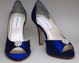 Wedding Shoes -- Sapphire Blue Heels with Rhinestone Adornme