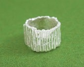 Natural texture silver ring - Japanese simple silver ring - Pastry Cookie ring