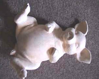 """Cute,Pig on it's back  7"""" , Farm pig, Farm animal, Wallowing Pig, Pork chop, Wiggling Pig, Porky Pig, Ready to paint,ceramic bisque,u-paint"""