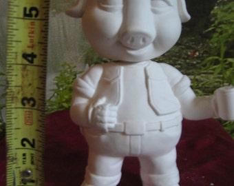 Harley Pig, motorcycle Pig, Harley Hog, Pig  Nodder, Pig  Bobble head, Harley Motorcycle, Dashboard, Ready to paint, Ceramic bisque,u-paint