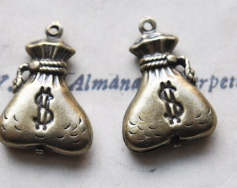TWO Money bags brass charms in dark oxidized finish