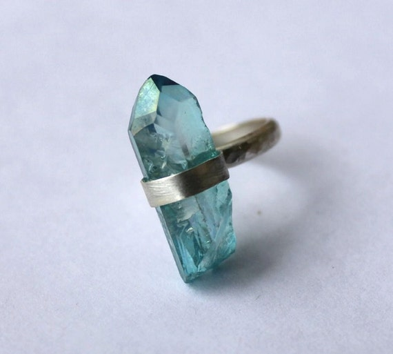 Aqua Aura Crystal Ring - Sterling Silver Jewelry Handmade, Size 6 (UK/AUS M)