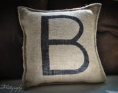 Burlap Pillow, Personalized Monogram