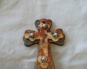 Mixed Media Wood Cross Ornament
