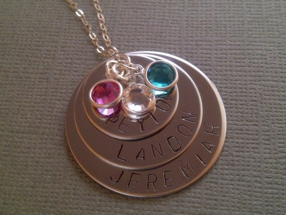 Three Tier Hand Stamped Stainless Steel Necklace on a Sterling Silver Chain
