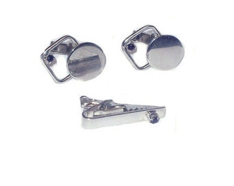 Vintage Cuff Links and Tie Clip - Silver Tone and Black Onyx - Round and Triangular Shape