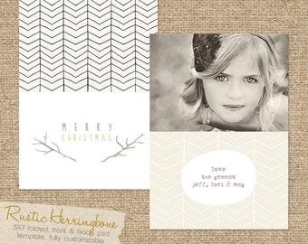 "INSTANT DOWNLOAD ""Rustic Herringbone"" 5X7 Christmas Folded Card Template"