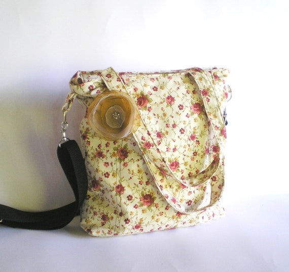 Ready to ship  Shaby chic woman Body Cross bag, shoulder bag with flower pattern- romantic style olive mauve copper