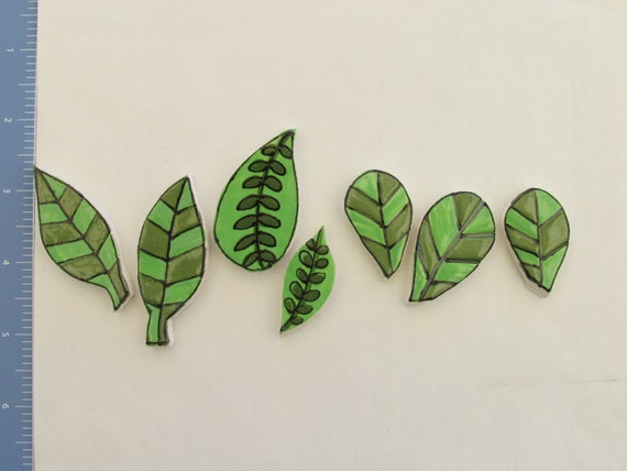 RESERVED 7 pc set of Variety Leaves - Ceramic Mosaic Tile