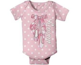 Ballerina Bodysuit, Personalized Pink Ballet Slipper, Baby Girl One-Piece Clothing