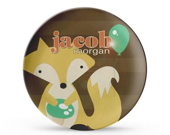 Personalized Plate, Child's Fox Melamine Plate, Personalized Woodland Birthday Cake Plate
