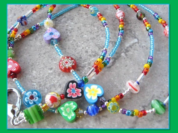 TEACHER'S HEART- Glass Beaded Id Lanyard Badge Holder-  Polymer Clay Hearts and Millefiore Beads (Magnetic Clasp)