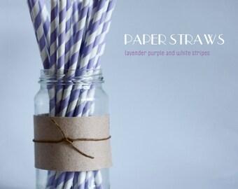 25 Lavender Purple and White Striped Paper Straws  - Standard 7.75'' / 19.68cm