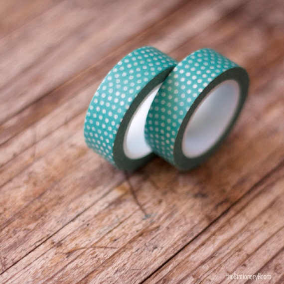 Japanese Washi Tape - Masking Tape roll in Aqua Green and White Spots
