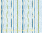 Beatrix Potter's Mrs. Tiggy-Winkle Fabric Collection - Blue and Avocado Stripes - 1 Yard