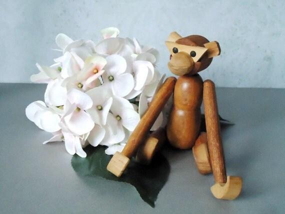Vintage Retro MCM 1960s Bojesen Style Monkey - Wooden Monkey - Wooden Toys - Wood Jointed Animal