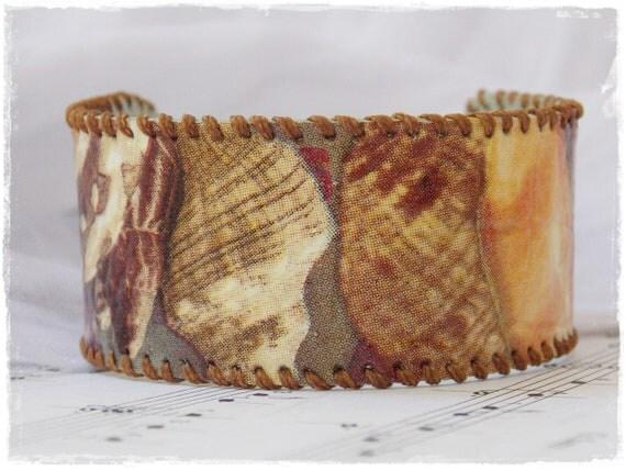 Sea Shell Bracelet, Leather  Decoupage Cuff, Bracelet With Sea Shells, Summer Leather Jewelry, Boho Leather Bracelet, Summer Beach Bracelet
