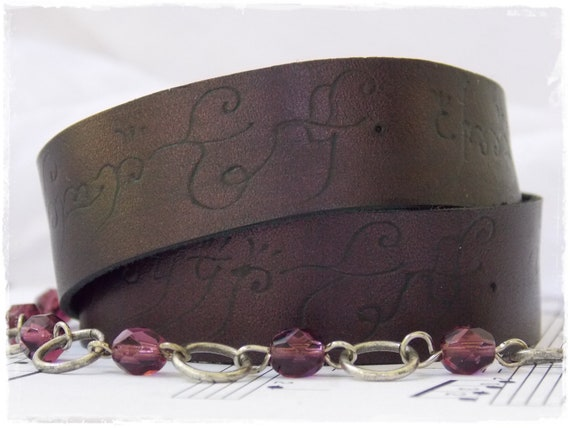 Elvish Script Leather Wrap Bracelet, Plum Leather Wrap Bracelet, Triple Wrap Bracelet, Elven Jewelry, LARP Elf Bracelet, Elf Quote Bracelet