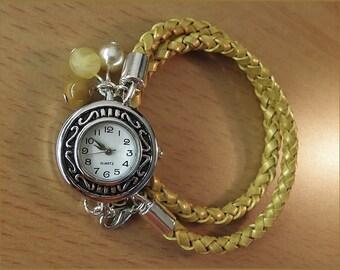 wrist watch banana leather bracelet yellow  silver women