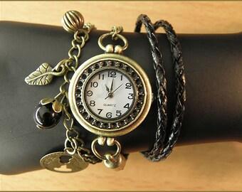 women wrist watch leather bracelet bronze chain charms
