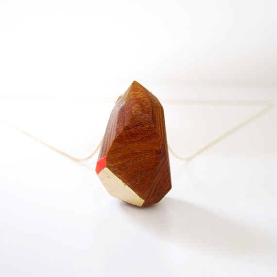 Geometric Wood Necklace with Gold Leaf and Bright Ornage Handpainted Facets, KARVE one-of-a-kind, no. 25 of 100