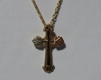 Whitaker's Black Hills Gold Cross Pendant