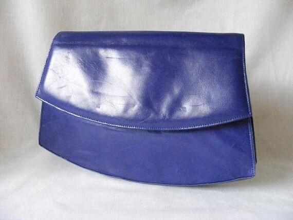 RESERVED for mazemanagement1 - Purple Leather Clutch Bag Designer Charles Jourdan Cross Body Shoulder Bag Handbag Purse 1980s