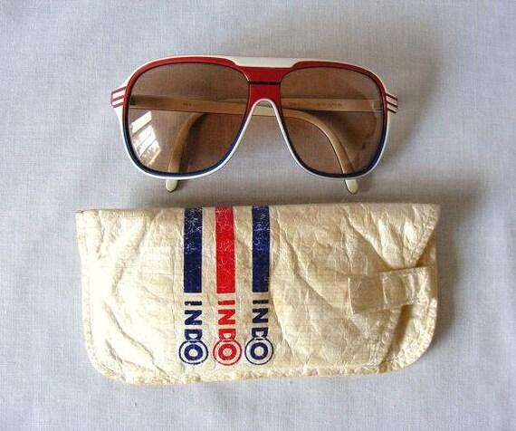 Aviators Retro Sunglasses By Designer Barbudo Red White Blue Brown 1970s Indo Nevada Unisex