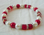 Red and White Pearls with Light Siam Swarovski Elements Crystal Cubes and Silver Plated Clear Squaredelle Rhinestones Stretch Bracelet
