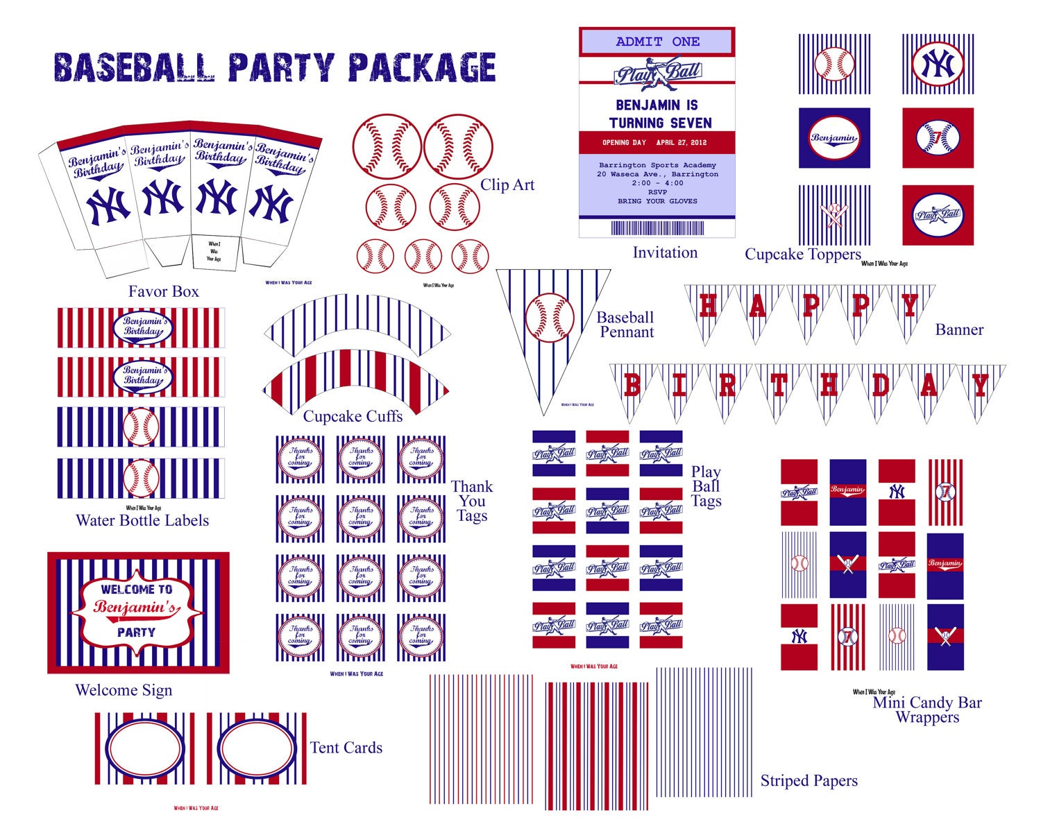 personalized printable baseball birthday party package