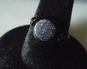 Blue Goldstone Ring with Black Wire - Star Sparkles - Made to Order