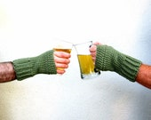 Mens Fingerless Gloves Crochet St. Patrick's Day Green