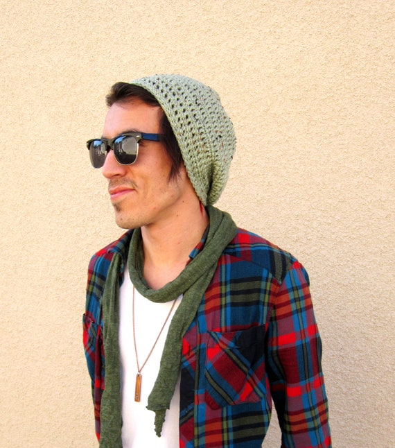 Mens Slouchy Hipster Crochet Hat Slouch Beenie Beanie Mint Green Handmade Gifts For Guys Under 50 Dollars